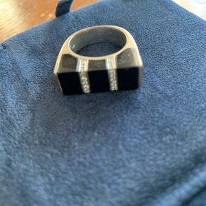 Jewelry - Sterling Silver, Onyx, & CZ Ring